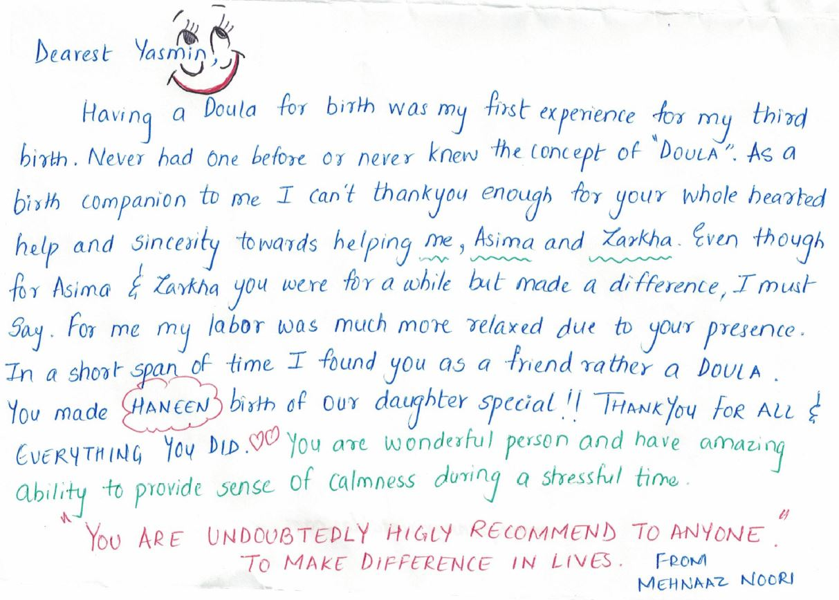 Mehnaaz Thank you note